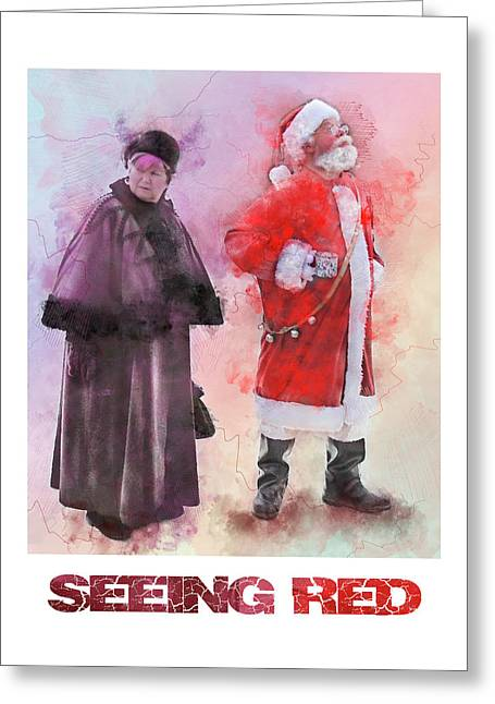 Seeing Red - Santa And Mrs Claus Watercolor Candid Portrait Greeting Card by Rayanda Arts