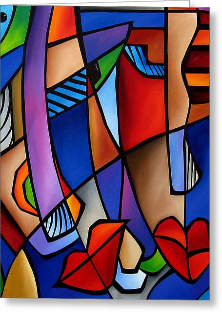 Wine Deco Paintings Greeting Cards - Seeing Sounds - Abstract Pop Art by Fidostudio Greeting Card by Tom Fedro - Fidostudio