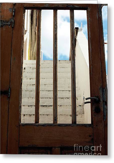 Seeing Through The Door In Mykonos Greeting Card