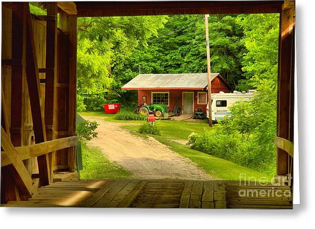 Seen Through The Wilkins Mill Covered Bridge Greeting Card