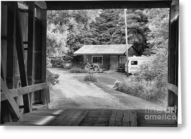 Seen Through The Wilkins Mill Covered Bridge Black And White Greeting Card