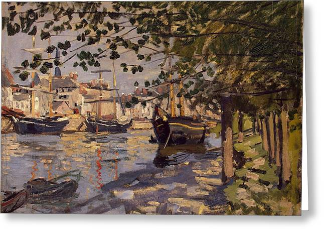 Seine At Rouen Greeting Card by Claude Monet
