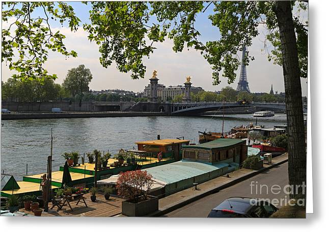 Seine Barges In Paris In Spring Greeting Card by Louise Heusinkveld