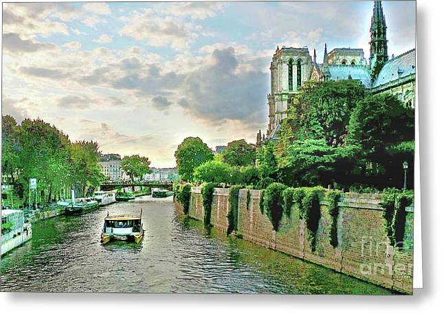 Seine River Cruise, Notre-dame Greeting Card by Joan Minchak