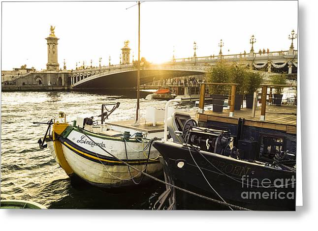 Seine River With Barges And Boats, Pont De Alexandre Bridge Behind, Paris France. Greeting Card by Perry Van Munster