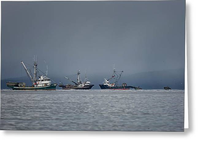 Greeting Card featuring the photograph Seiners Off Mistaken Island by Randy Hall