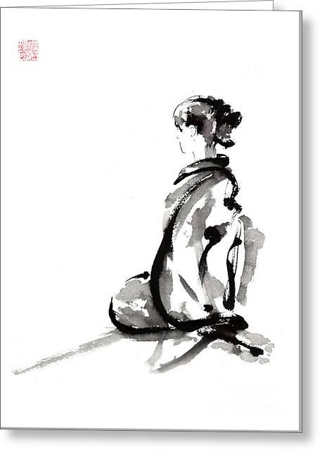 Seiza - Zen Painting. Greeting Card by Mariusz Szmerdt
