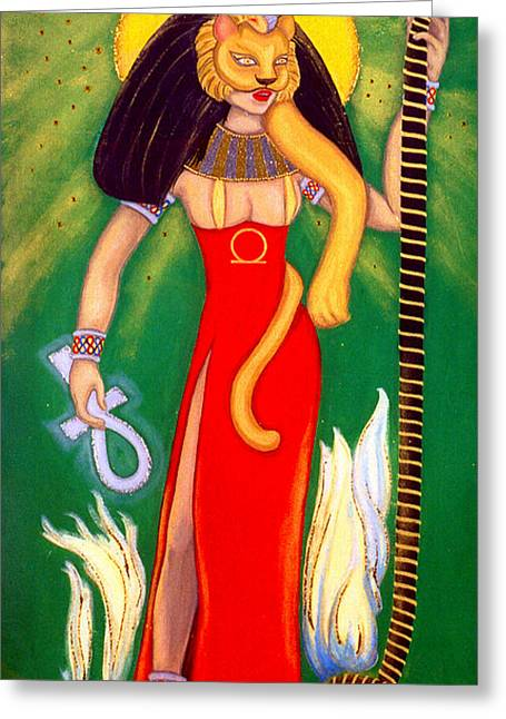 Sekhmet Greeting Card by DiVeena Seshetta