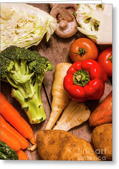Selection Of Fresh Vegetables On A Rustic Table Greeting Card