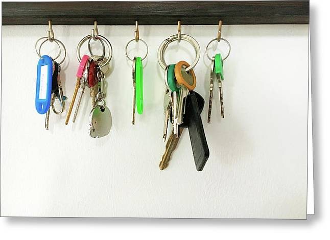 Selection Of Keys Greeting Card by Tom Gowanlock