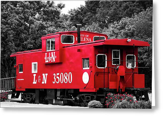 Selective Color Red Caboose Greeting Card