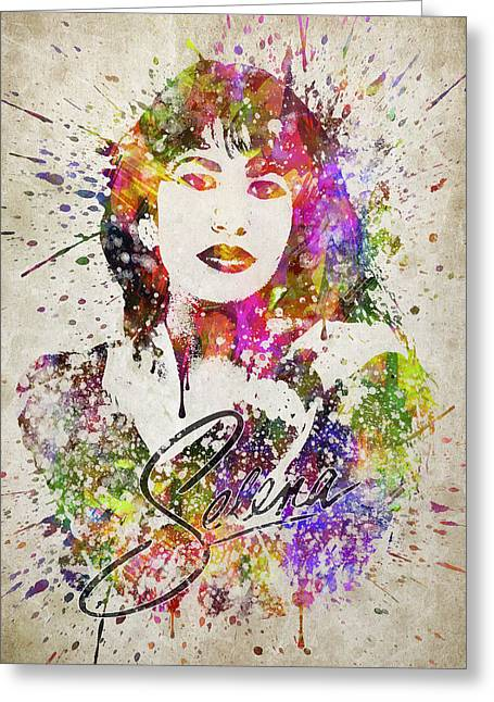 Selena Quintanilla In Color Greeting Card by Aged Pixel