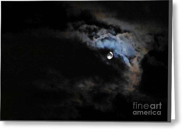 Selene Peaking From The Clouds Greeting Card