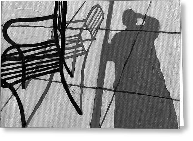 Self Portrait - Cafe Shadows Painting Greeting Card by Linda Apple