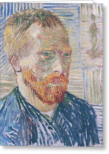 Self Portrait 1887 With Japanese Print Greeting Card by Vincent Van Gogh