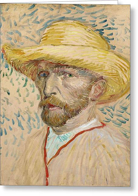 Self Portrait 1887 With Straw Hat 01 Greeting Card by Vincent Van Gogh