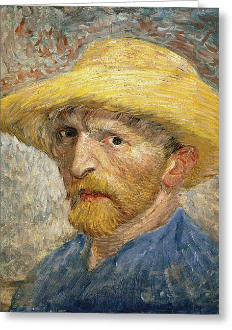 Self Portrait 1887 With Straw Hat 02 Greeting Card by Vincent Van Gogh