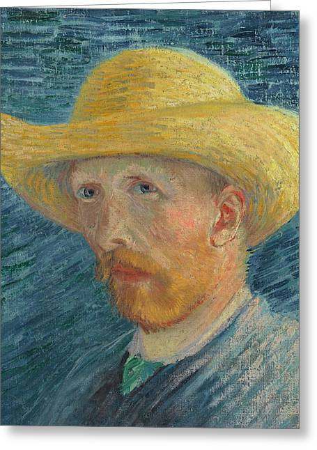 Self Portrait 1887 With Straw Hat 03 Greeting Card by Vincent Van Gogh