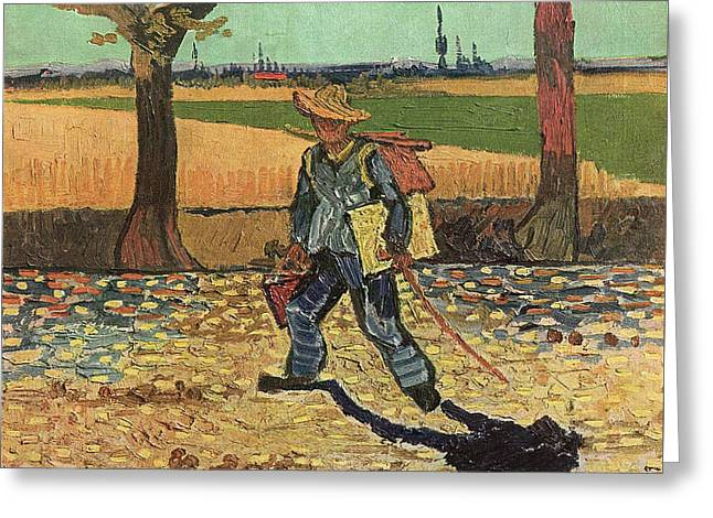 Self Portrait 1888 On The Road To Tarascon The Painter On His Way To Work Greeting Card by Vincent Van Gogh