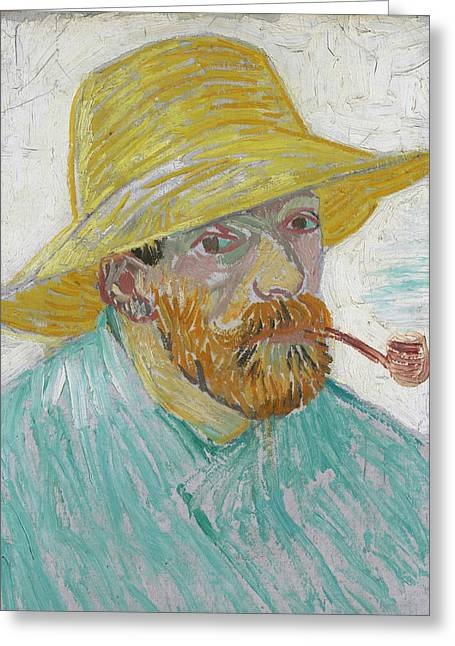 Self Portrait 1888 With Pipe And Straw Hat Greeting Card by Vincent Van Gogh