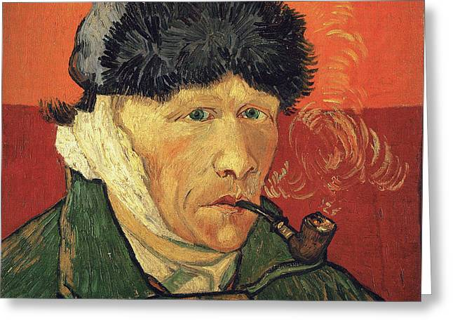Self Portrait 1889 With Bandaged Ear And Pipe Greeting Card by Vincent Van Gogh