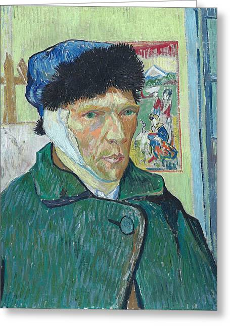 Self Portrait 1889 With Bandaged Ear Greeting Card by Vincent Van Gogh