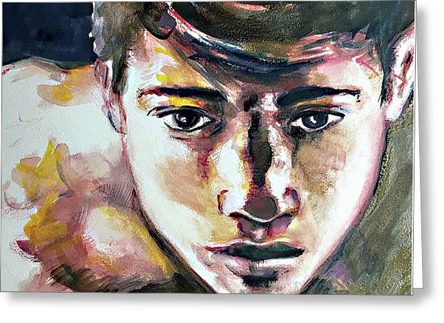 Greeting Card featuring the painting Self Portrait 2016 by Rene Capone