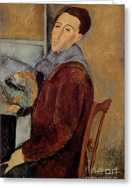 Desk Greeting Cards - Self Portrait Greeting Card by Amedeo Modigliani