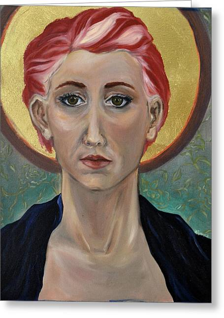 Self Portrait As A Common Saint Greeting Card by Amy Rouyer