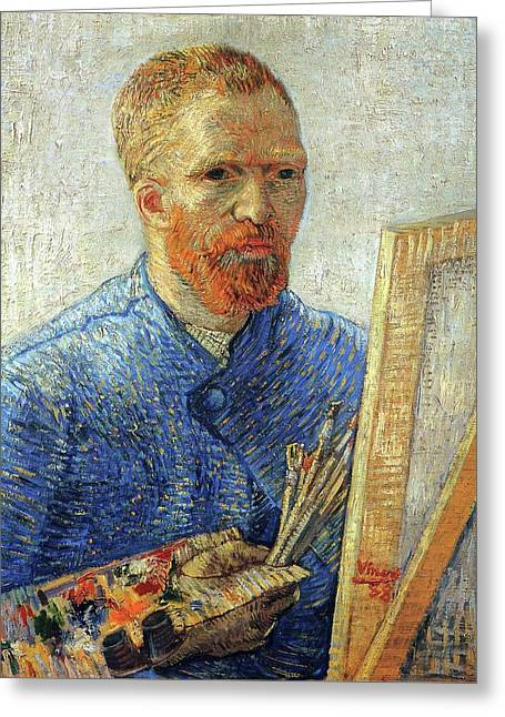 Greeting Card featuring the painting Self Portrait As An Artist by Van Gogh
