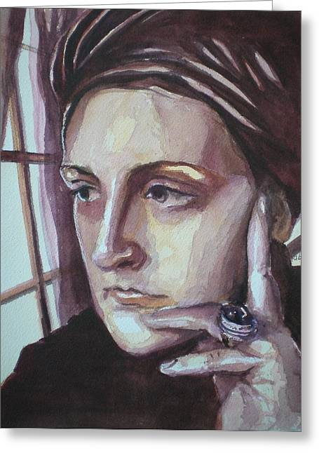 Self-portrait At 30 Greeting Card by Aleksandra Buha