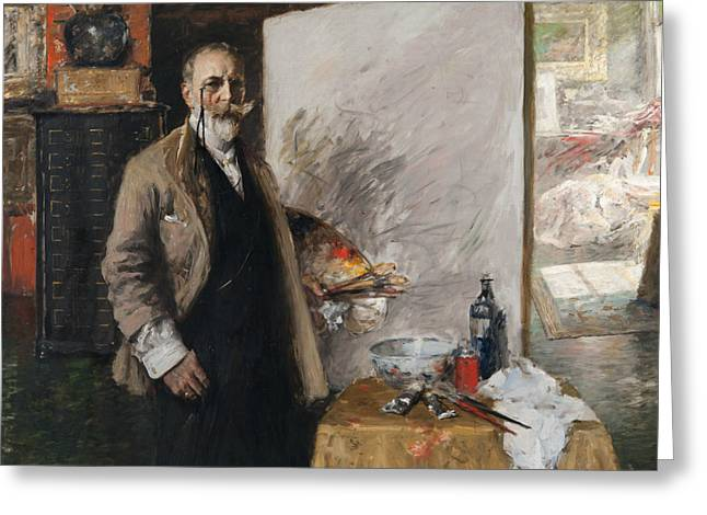 Self Portrait In 4th Avenue Studio Greeting Card by William Merritt Chase