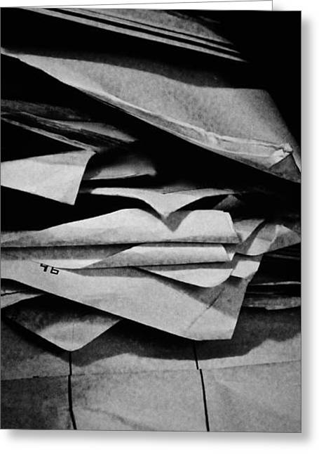 Self Portrait In A Pile Of Paper Greeting Card by Brian Sereda