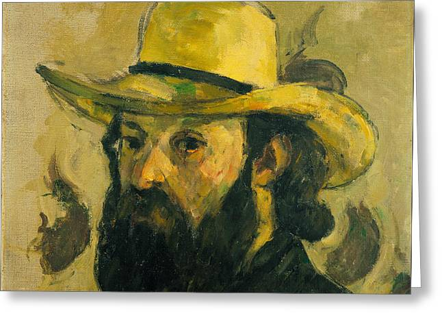 Self Portrait In A Straw Hat Greeting Card by Paul Cezanne