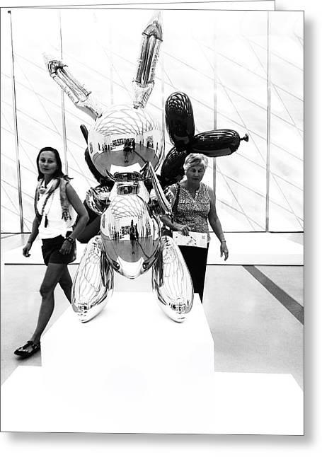 Self Portrait In Jeff Koons Mylar Rabbit Balloon Sculpture Greeting Card