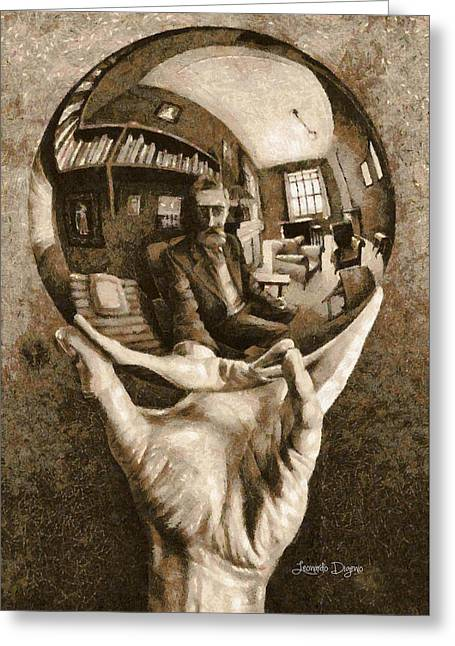 Self-portrait In Spherical Mirror By Escher Revisited Greeting Card by Leonardo Digenio