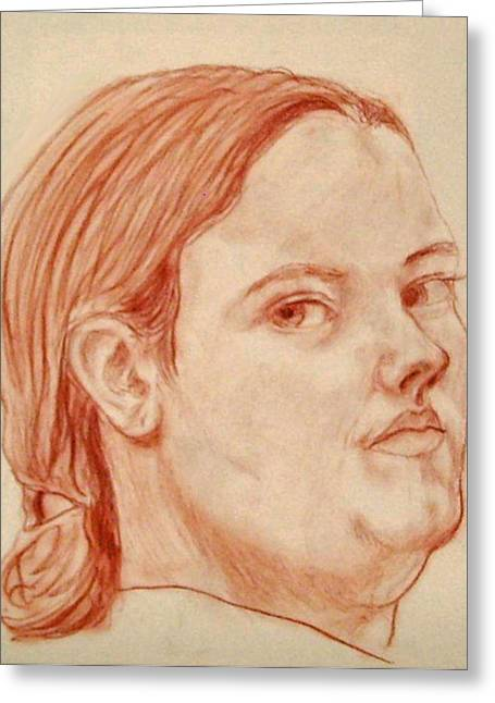 Greeting Card featuring the pastel Self Portrait by Jean Haynes