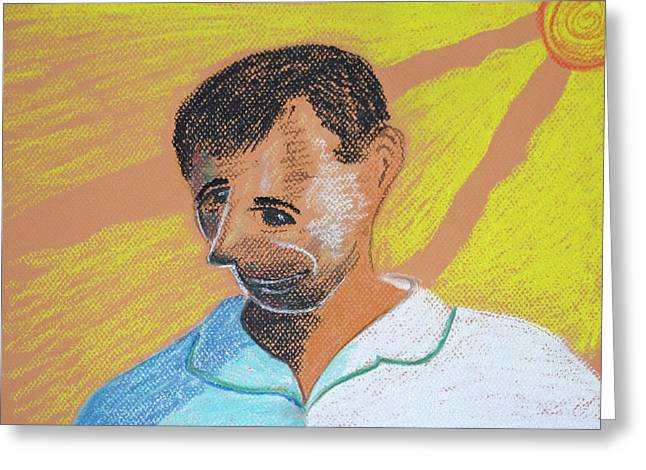 Pastel Portrait Greeting Cards - Self Portrait Greeting Card by Jose Valeriano