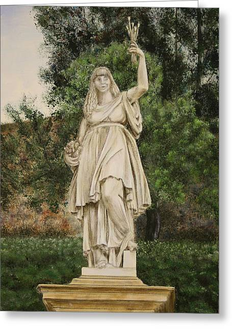 Statue Portrait Paintings Greeting Cards - Self Portrait Greeting Card by Karen  Peterson