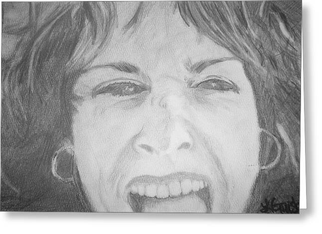 Greeting Card featuring the drawing Self Portrait by Laura  Grisham