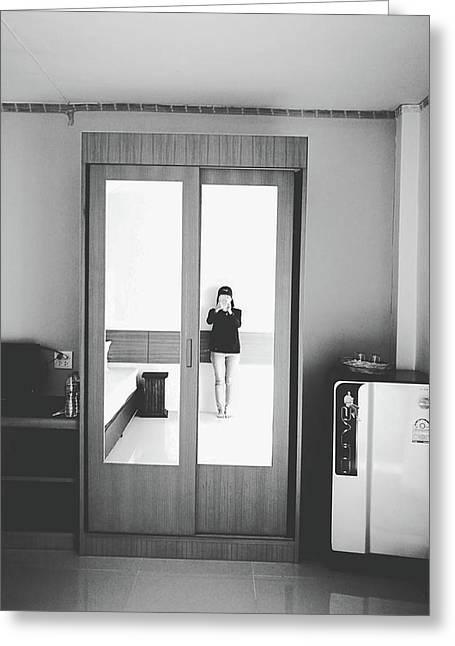 Self Portrait On Mirror Wardrobe Greeting Card by Sirikorn Techatraibhop