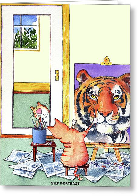 Self Portrait, Tiger Greeting Card