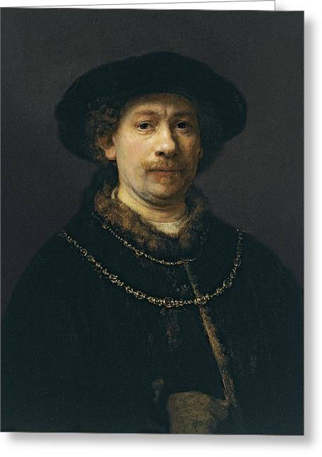 Self-portrait Wearing A Hat And Two Chains  Greeting Card
