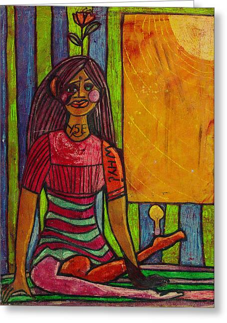 Self Portrait Pastels Greeting Cards - Self Portrait Why Greeting Card by Lydia L Kramer