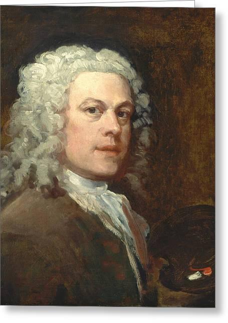 Self-portrait Greeting Card by William Hogarth