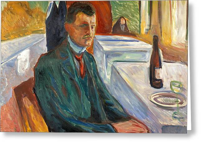Self-portrait With A Bottle Of Wine Greeting Card by Edvard Munch