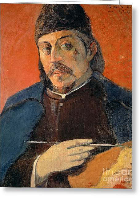 Self Portrait With A Palette Greeting Card by Paul Gauguin