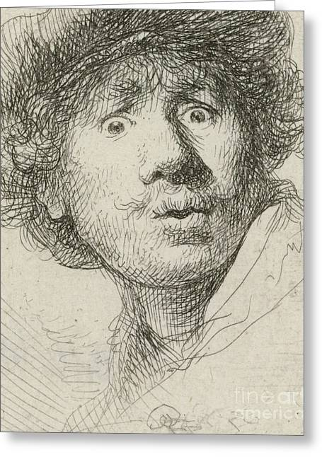 Self-portrait With Beret And Wide-eyed, 1630 Greeting Card