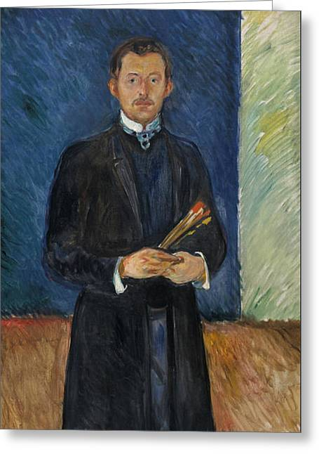 Self-portrait With Brushes Greeting Card by Edvard Munch