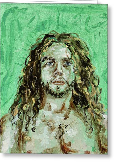 Greeting Card featuring the painting Self Portrait -with Emerald Green And Mummy Brown- by Ryan Demaree